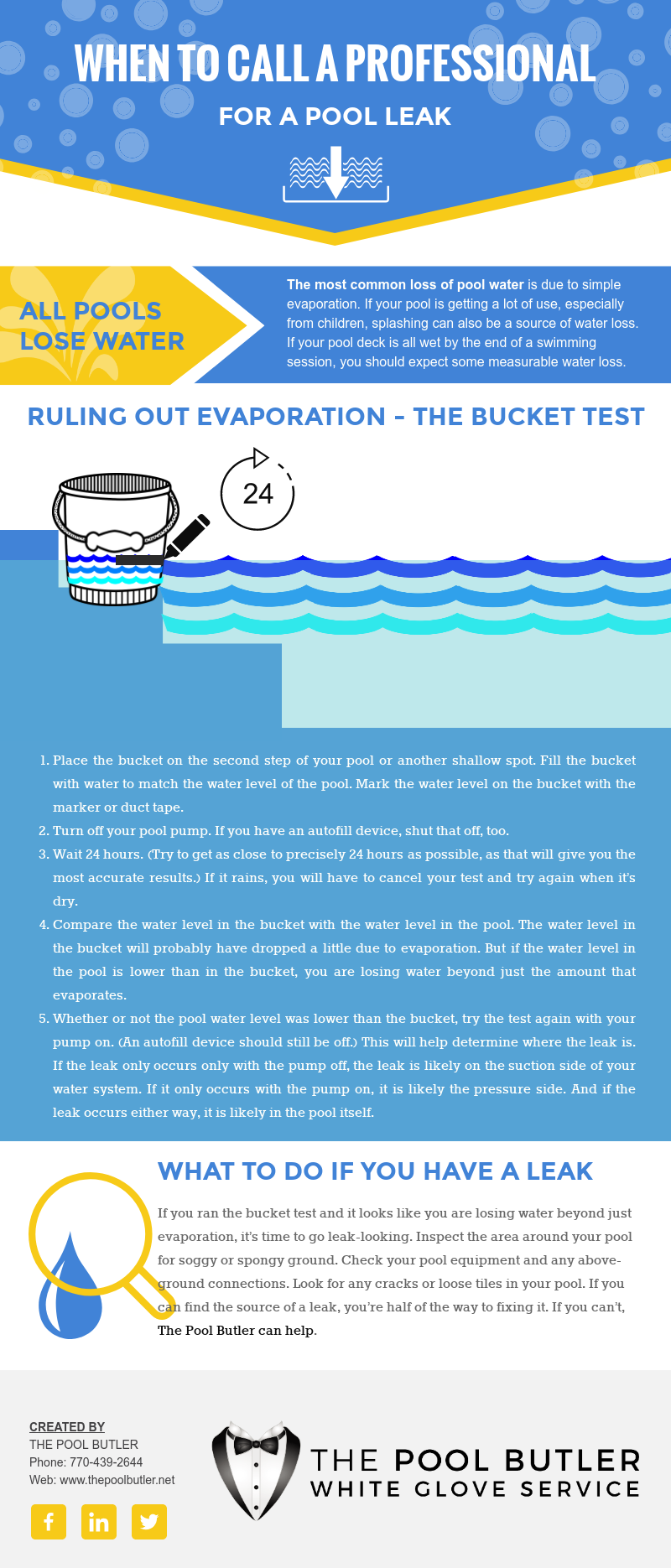 When to Call a Pool Repair Professional for a Leak [infographic]