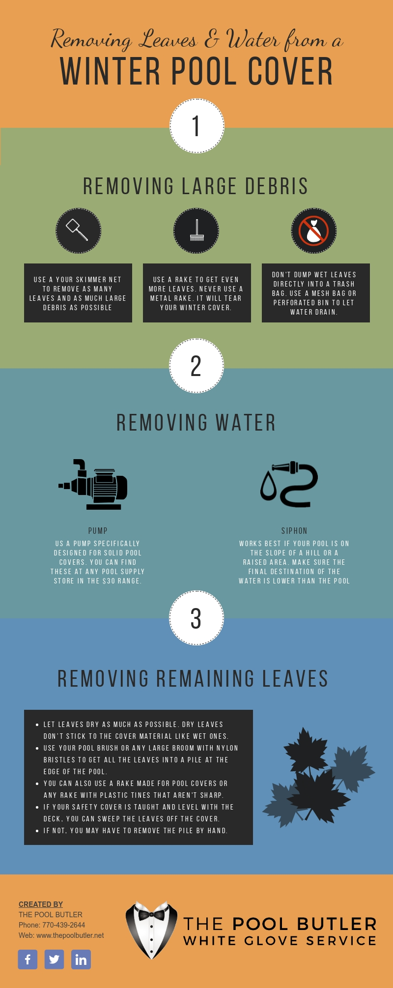 Removing Leaves and Water from a Winter Pool Cover [infographic]